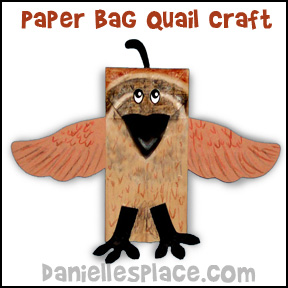 Quail Paper Bag Craft from www.daniellesplace.com