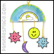 Sun, moon, stars mobile paper plate craft www.daniellesplace.com