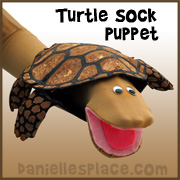 Turtle Sock Puppet from www.daniellesplace.com
