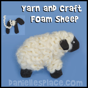 Foam and Yarn Sheep Craft for Children from www.daniellesplace.com