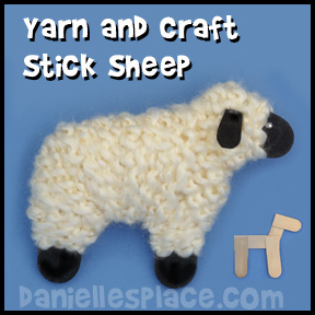 Craft Stick and Yarn Sheep Craft for Kids from www.daniellesplace.com