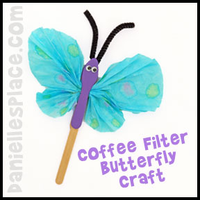 Butterfly Craft - Coffee Filter Butterfly Craft for Kids from www.daniellesplace.com