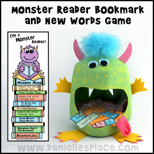Monster Reader Reading Program with Monster Bookmark and New Words Monster Game from www.daniellesplace.com