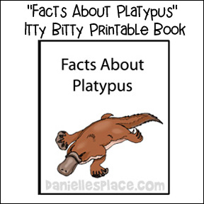 """Facts About Platypus"" Itty Bitty Printable Book for Children from www.daniellesplace.com"