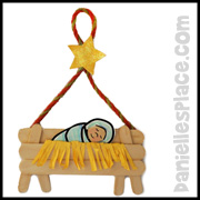 Baby Jesus in a Craft Stick Manger Craft for Sunday School