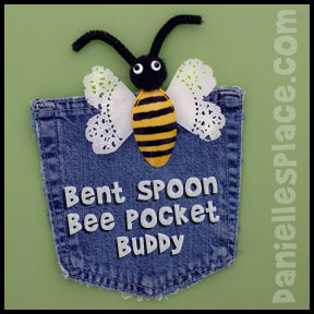 Bee Craft - Bent Spoon Bee Pocket Buddy Craft for Kids from www.daniellesplace.com