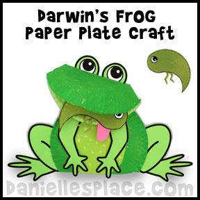 Frog Craft - Darwin's Frog Paper Plate Craft and Leaning Activity from www.daniellesplace.com