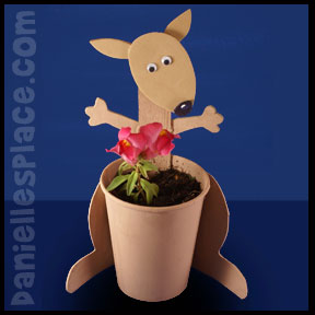 Kangaroo Craft - Cup Planter Craft from www.daniellesplace.com. Great for Aus