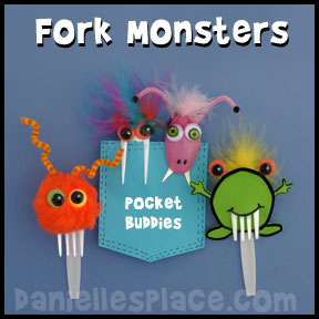 Monster Pocket Buddies Fork Craft for Kids from www.daniellesplace.com