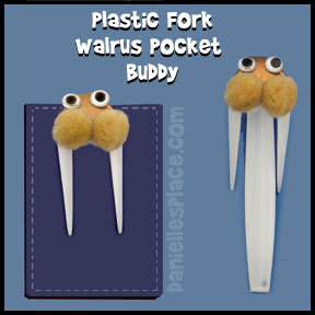 Walrus Craft Made from a Bent Fork - Walrus Pocket Buddy Craft from www.daniellesplace.com