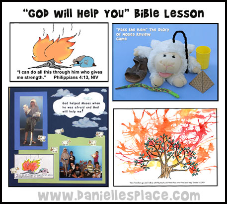 Moses Sunday School Lesson - Moses and the Burning Bush Bible Lesson with Crafts, Review Games, Printable Memory Verse Cards and Move from www.daniellesplace.com