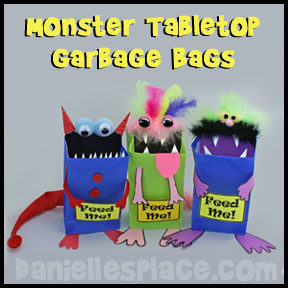 Monster-craft-tabletop Garbage Back Back-to-school craft from www.daniellesplace.com