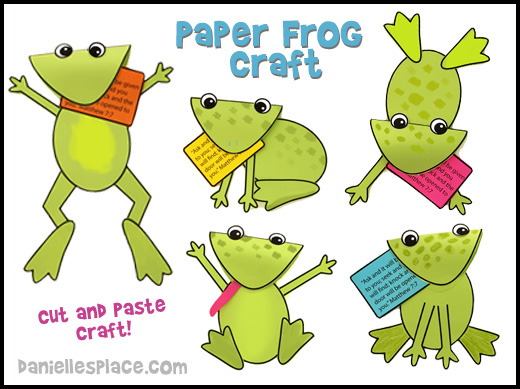 Frog Craft - Paper Frog Craft for Children from www.daniellesplace.com