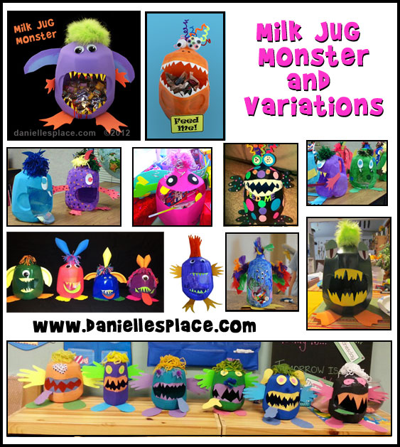 milk Jug Monster Crafts from www.daniellesplace.com