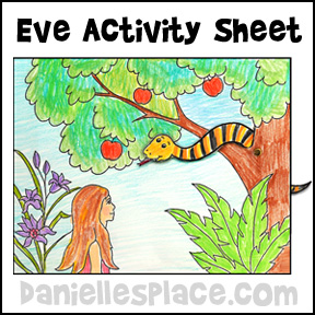 Adam and Eve Color and Activity Sheet from www.daniellesplace.com