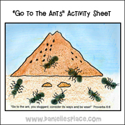 Go to the ants bible activity sheet  from www.daniellesplace.com