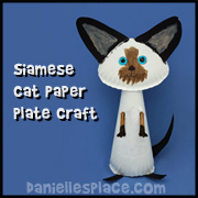 Siamese Paper Plate Cat Craft for kids for  Childrens Ministry Sunday School and Homeschool from www.daniellesplace.com