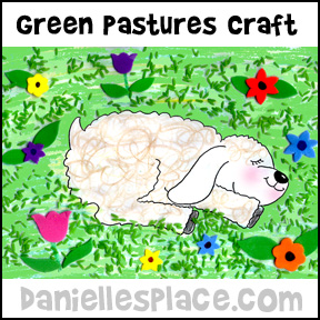 Sheep in Green Pastures Bible Crafts from www.daniellesplace.com