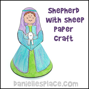 Sheep Craft - Shepherd Holding Sheep Paper Craft from www.daniellesplace.com