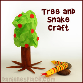 Adam and Eve Garden of Eden Tree and Snake Craft for Sunday School from www.daniellesplace.com