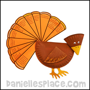 Turkey Craft - The Story of Thanksgiving Paper Plate Turkey Craft from www.daniellesplace.com