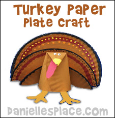 Turkey Paper Plate Craft for Kids from www.daniellesplace.com