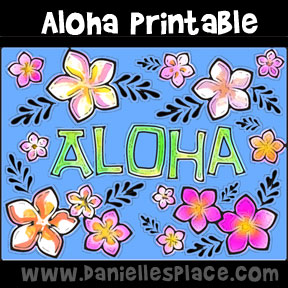 Aloha Sign Printable Coloring Sheet for Hawaii Thematic Unit from www.daniellesplace.com