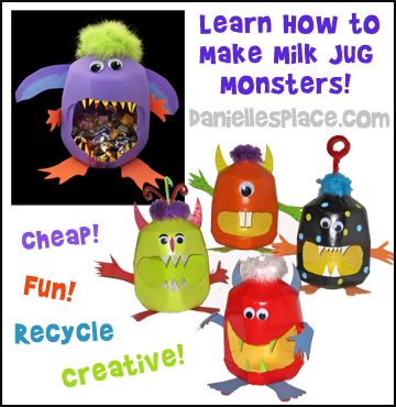 Learn how to make milk jug monsters for Halloween from www.daniellesplace.com