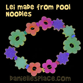 Lei Made from Pool Noodles from www.daniellesplace.com