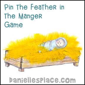 Pin the Feather in the Manger Christmas Bible Game for Sunday School from www.daniellesplace.com