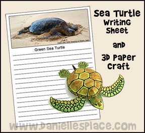 Sea Turtle Writing Sheet Hawaii Learning Activity and 3D Paper Turtle Craft from www.daniellesplace.com