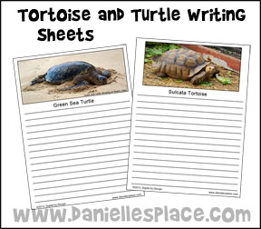 Tortoise and Turtle Writing Sheets from www.daniellesplace.com