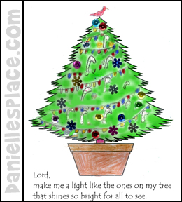 Christmas Tree Printable with Poem Craft for Kids from www. daniellesplace.com