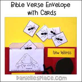 Ant Bible Verse Envelope and Ant Cards