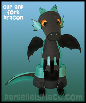 Dragon Cup, Fork, and Paper Plate Craft for Kids www.daniellesplace.com