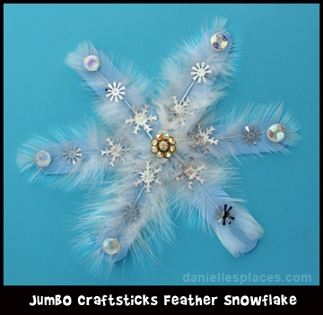 Craft Stick Feather Snowflake Craft for Kids www.daniellesplace.com