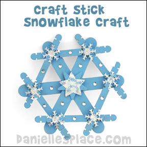 Craft Stick Snowflake Craft from daniellesplace.com