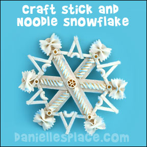 Craftstick Noodle Snowflake Craft from www.daniellesplace.com