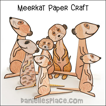 meerkat 3D paper craft for kids, meercat craft www.daniellesplace.com