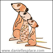 homeschool and sunday school meerkat 3D folded paper craft for kids, meercat craft www.daniellesplace.com