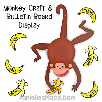 Monkey Paper Plate Craft and Bulletin Board Display
