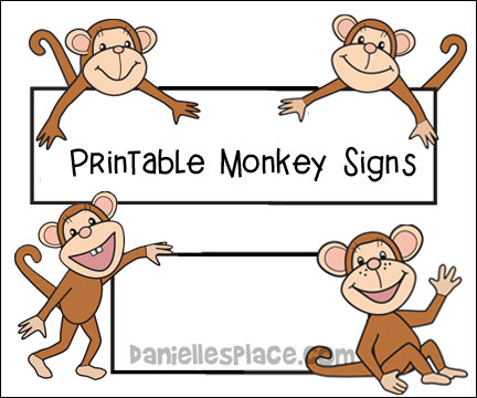Monkey printable signs for bulletin board displays from www.daniellesplace.com