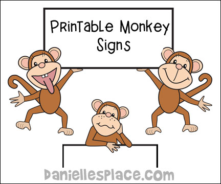 Printable Monkey Signs for Monke Bulletin Board Displays