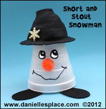 Snowman Short and Stout Cup Craft for Kids www.daniellesplace.com