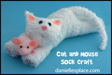 Sock Cat and Mouse Craft for Kids