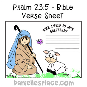 The Lord Is My Shepherd Bible Verse Sheets Writing Activity