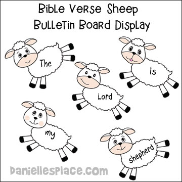 Sheep Bible Verse Bulletin Board Display from www.daniellesplace.com
