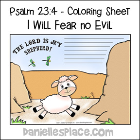"Psalm 23:4 - Coloring Sheep - ""I will fear no evil"""