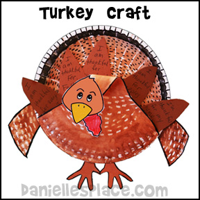Turkey Paper Plate Craft from www.daniellesplace.com
