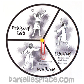 walking leaping praising god spinner game
